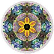 Cosmic Spiral Kaleidoscope 13 Round Beach Towel by Derek Gedney