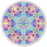 Cosmic Spiral Kaleidoscope 17 Round Beach Towel