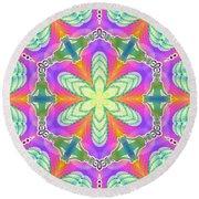 Round Beach Towel featuring the digital art Cosmic Spiral Kaleidoscope 18 by Derek Gedney