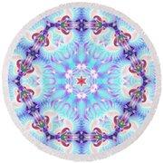 Round Beach Towel featuring the digital art Cosmic Spiral Kaleidoscope 32 by Derek Gedney
