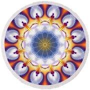 Cosmic Spiral Kaleidoscope 34 Round Beach Towel by Derek Gedney