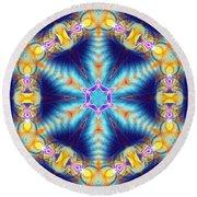 Round Beach Towel featuring the digital art Cosmic Spiral Kaleidoscope 36 by Derek Gedney