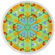 Cosmic Spiral Kaleidoscope 41 Round Beach Towel by Derek Gedney