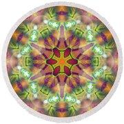 Round Beach Towel featuring the digital art Cosmic Spiral Kaleidoscope 42 by Derek Gedney
