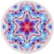 Cosmic Spiral Kaleidoscope 45 Round Beach Towel by Derek Gedney