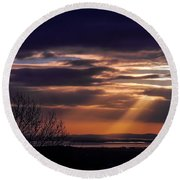 Cosmic Spotlight On Shannon Airport Round Beach Towel