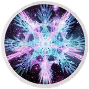 Cosmic Starflower Round Beach Towel