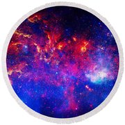 Cosmic Storm In The Milky Way Round Beach Towel