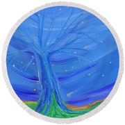 Round Beach Towel featuring the painting Cosmic Tree by First Star Art