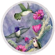 Costa Hummingbird Family Round Beach Towel by Marilyn Smith