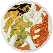 Costume Design For A Bacchante In Narcisse By Tcherepnin Round Beach Towel