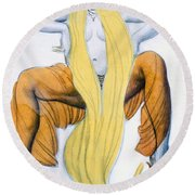 Costume Design For A Bacchic Dancer Round Beach Towel