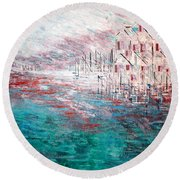 Cottages On The Bay  Round Beach Towel by George Riney