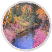 Cotton Candy Creek Round Beach Towel