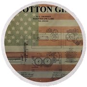 Cotton Gin Patent Aged American Flag Round Beach Towel
