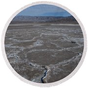 Cottonball Basin At Death Valley Round Beach Towel