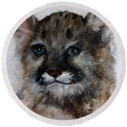 Antares - Cougar Cub Round Beach Towel by Barbie Batson