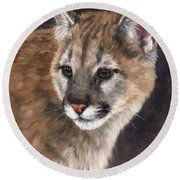 Cougar Cub Painting Round Beach Towel