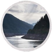 Cougar Reservoir Round Beach Towel by Belinda Greb