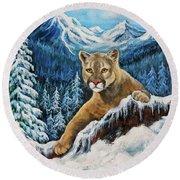 Cougar Sedona Red Rocks  Round Beach Towel