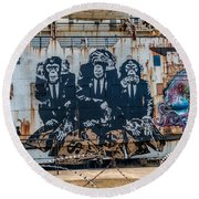 Council Of Monkeys 2 Round Beach Towel