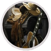 Country And Western Music Round Beach Towel