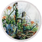 Round Beach Towel featuring the painting Country Charm by Hanne Lore Koehler