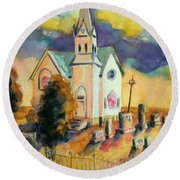 Round Beach Towel featuring the painting Country Church At Sunset by Kathy Braud
