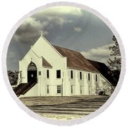 Round Beach Towel featuring the photograph Country Church by Bonnie Willis