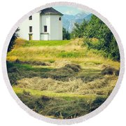 Round Beach Towel featuring the photograph Country Church With Hay by Silvia Ganora