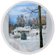 Country Club In Winter Round Beach Towel