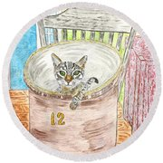 Country Crock Cat Round Beach Towel