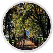 Round Beach Towel featuring the photograph Country Drive by Aaron Berg