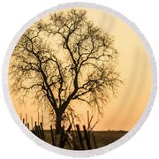 Country Fence Sunset Round Beach Towel