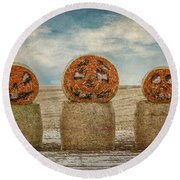 Country Halloween Round Beach Towel