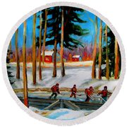 Country Hockey Rink Round Beach Towel