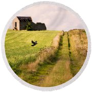 Country Lane Round Beach Towel
