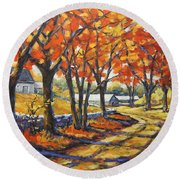 Country Lane Sentinels  Created By Prankearts Round Beach Towel