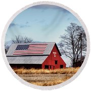 Country Pride Round Beach Towel by Cricket Hackmann