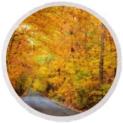 Country Road In Fall Round Beach Towel