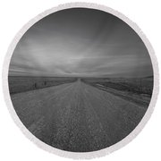 A Country Road Of South Dakota Round Beach Towel
