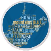 Country Roads 3 Round Beach Towel