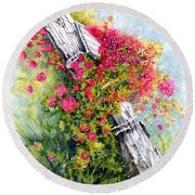Country Rose Round Beach Towel