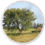 Round Beach Towel featuring the photograph Country Scene by Penny Meyers