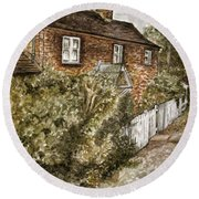 Old English Cottage Round Beach Towel by Teresa White