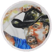 Country Singer Tim Mcgraw 02 Round Beach Towel