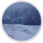 Round Beach Towel featuring the photograph Country Snowstorm Landscape Art Prints by Valerie Garner
