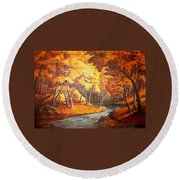 Country Stream In The Fall Round Beach Towel
