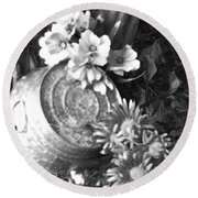 Country Summer - Bw 03 Round Beach Towel by Pamela Critchlow