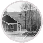 Round Beach Towel featuring the photograph Country Train Depot by Tikvah's Hope
